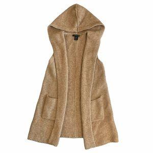 Tahari Merino Wool Blend Brown Hooded Cardigan